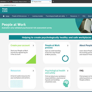 The People at Work psycho-social risk assessment tool is now a free on line resource